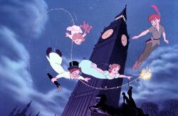 Peter Pan flying round big Ben