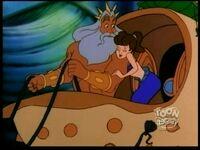 Aquata snuggling next to King Triton