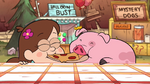 S1e9 waddles eating pizza