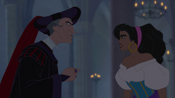 Esmeralda and Frollo.