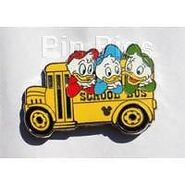 Huey dewey louie school bus pin