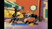 Mickey Donald and Goofy fleeing from angry crowd