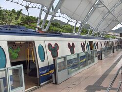 HK MTR DisneyResortLine Sunny Bay platform trains