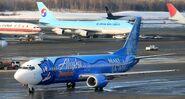 Alaska Airlines 737 in Disney colors