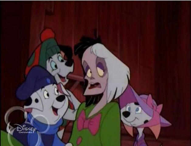 File:Dogs and Cruella in costume.JPG