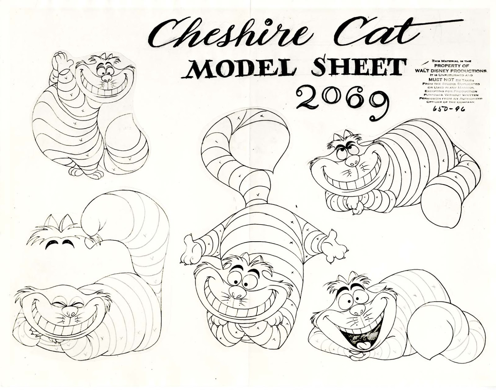 model sheet cheshire cat - Cheshire Cat Smile Coloring Pages
