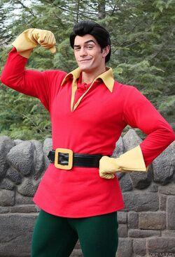Gaston at Disney parks in wintertime