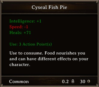 DOS Items Food Cyseal Fish Pie Stats