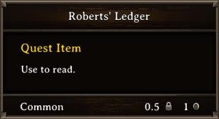 DOS Items Quest Roberts' Ledger Stats