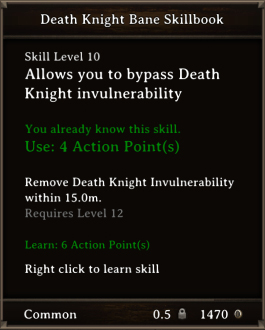DOS Items Scrolls Death Knight Bane Skillbook
