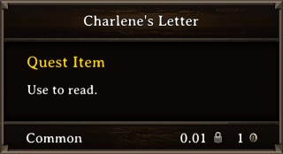 DOS Items Quest Charlene's Letter Stats