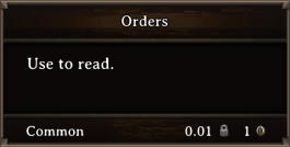 DOS Items Quest Orders