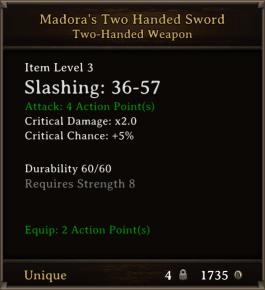 DOS Items Unique Madora's Two Handed Sword