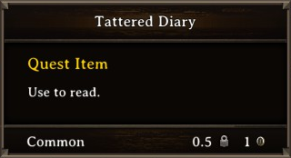DOS Items Quest Tattered Diary Stats