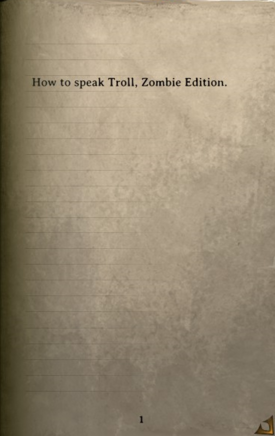 DOS Items Books How to speak Troll, Zombie Edition Page1