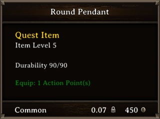 DOS Items Quest Round Pendant Stats