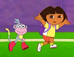 Dora and boot's playing soccer