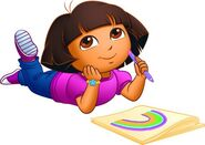 Dora drawing a rainbow