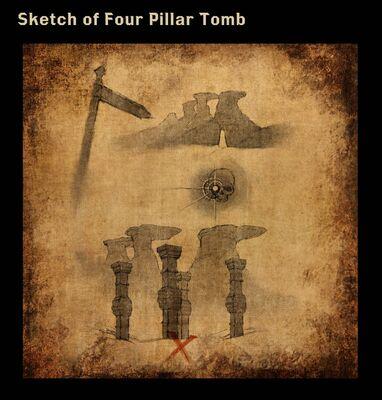 Sketch of Four Pillar Tomb