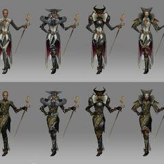 Concept art of Vivienne's robes