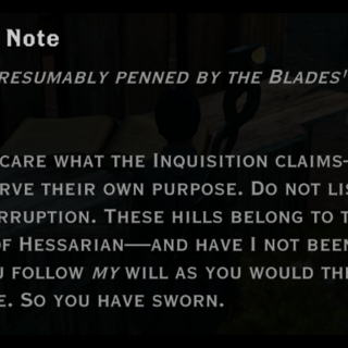 Found in the Hessarian camp (only if you challenge the leader)