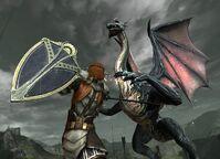 DA2 Mature Dragon in combat with Aveline