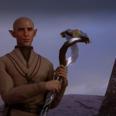 Solas shortly before discovering Skyhold.