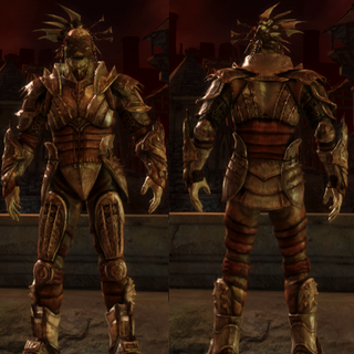 A set of Darkspawn Plate Armor for a Hurlock Emissary
