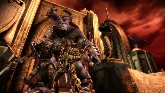 File:DAO Darkspawn Chronicles - Hurlock Vanguard and Thralls at top of Fort Drakon.jpg