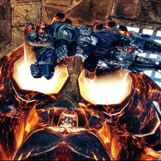 An Inferno golem with a darkspawn in its clutches.