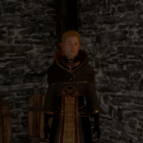Hyndel is easily located on the second floor of the south tower of the keep