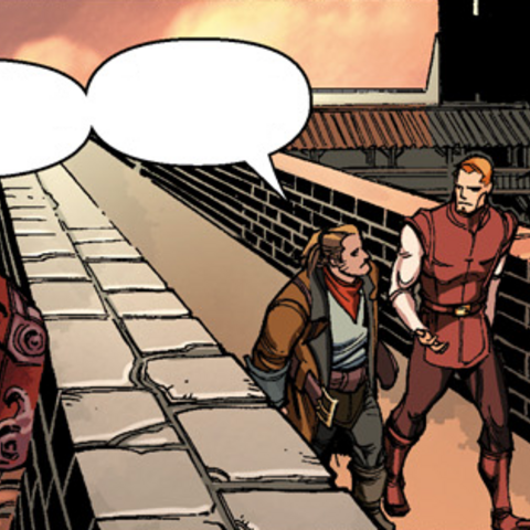 Alistair and Varric being escorted to the Arishok
