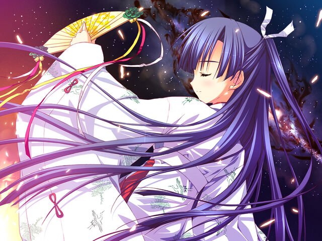 File:Konachan.com - 91931 fan game cg hoshizora e kakaru hashi japanese clothes koumoto madoka long hair night purple hair ryohka yukata.jpg