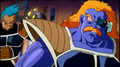 DXRD Caption of Fisshi-esque Humanoid & hornless-Banan-esque Frieza Soldiers' Scouters explodes due to the revived tyrant's power level in Resurrection 'F'