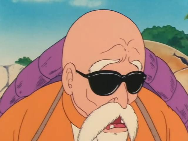 File:Roshi sad to hear Gohan died.jpg