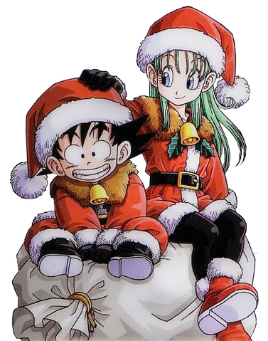 File:Goku and Bulma Christmas.png