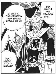Tambourine gives Demon King Piccolo the Dragon Ball