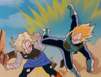 Android 18 blocks Vegeta's attack