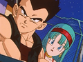 Bulla and Vegeta stare at Gohan