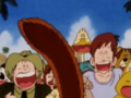 The crowd laughs at goku