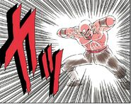 Tien uses a solar flare in an attempt to blind Goku...