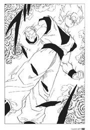 Goku transforms into a super saiyan
