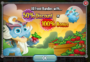 Food 50% or 100% Bouns