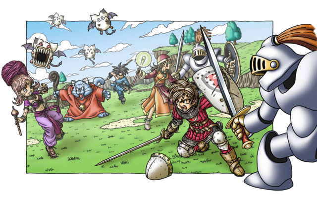 File:DQIX - Party battling monsters.png