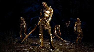 Los guerreros no muertos aguardan en medio de la noche.