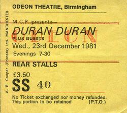 Odeon Birmingham (UK) - wikipedia duran duran ticket stub collection