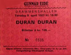 Drammenshallen Oslo Norway wikipedia duran duran ticket stub