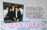 Topps cards duran duran advert