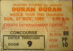 Perth ticket duran duran 27 november 1983