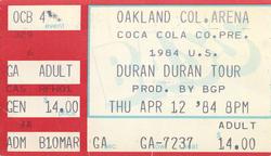 Duran duran ticket 12 april 84
